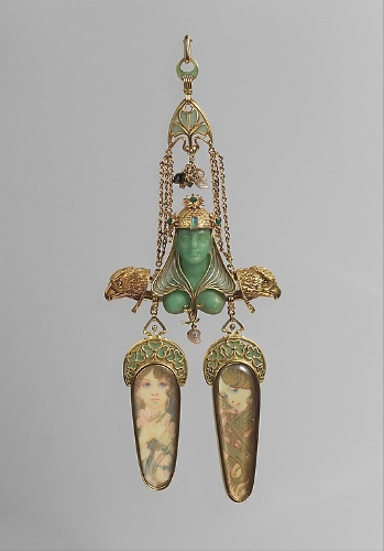 Pendant, gold, enamel, mother-of-pearl, opal, emerald, colored stones, gold paint, Georges Fouquet