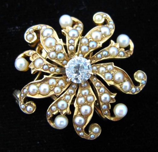 Victorian 14K brooch with seed pearls and a diamond, at Gray & Davis