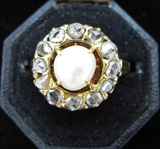 Natural pearl, rose cut diamond and 14K gold Victorian ring, at Gray & Davis