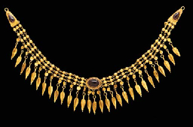 Gold and Garnet Necklace; Late 3rd-Early 2nd century B.C., Greek; Christie's Ancient Jewelry, December 5, 2001