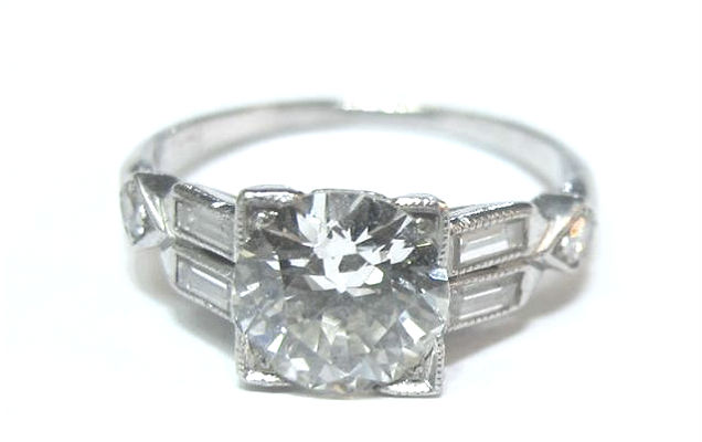 1.04ct Old European cut diamond and platinum Art Deco engagement ring, in the  online shop