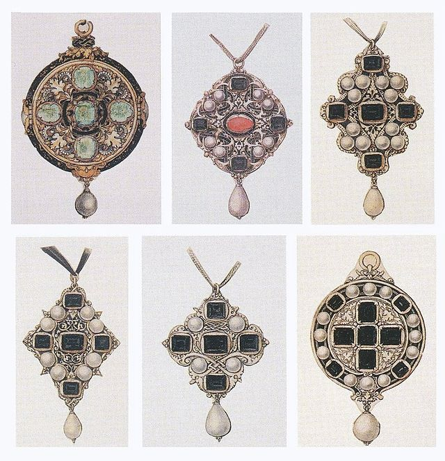 Six Sketches for Pendants by Hans Holbein the Younger c.1532-43. British Museum, London