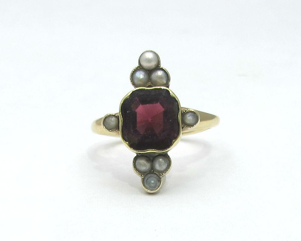 Victorian 14K gold, garnet and pearl ring, at Gray & Davis