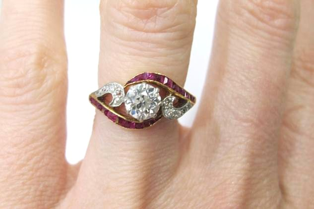 and california vintage rambling rings accent rose engagement estate in category orange ruby