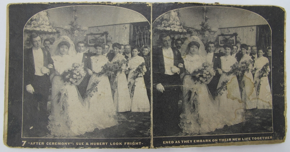 "'""After Ceremony"": Sue & Hubert look frightened as they embark on their new life together.' I think the wedding party looks more frightened than the couple."
