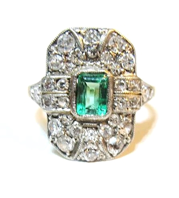 Early 20th Century emerald and diamond ring in platinum and 18k yellow gold, at Gray & Davis.