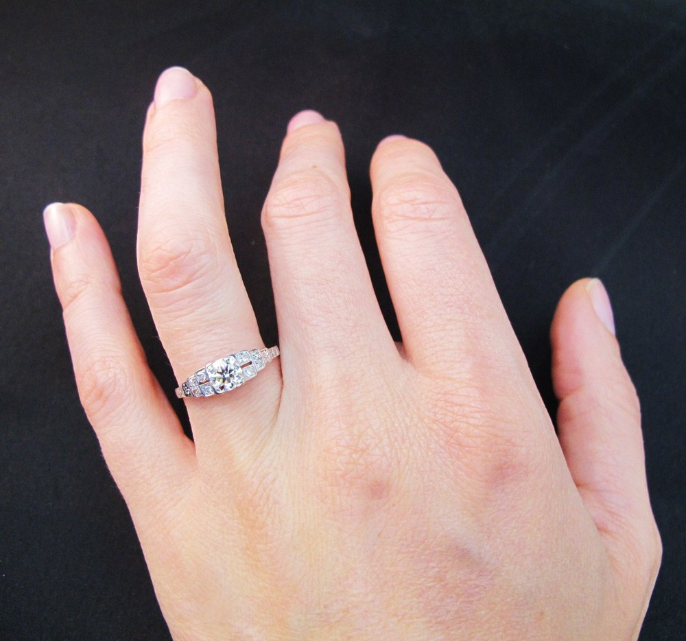 Say YES to Wednesday: White Gold & Diamond Art Deco Engagement Ring ...