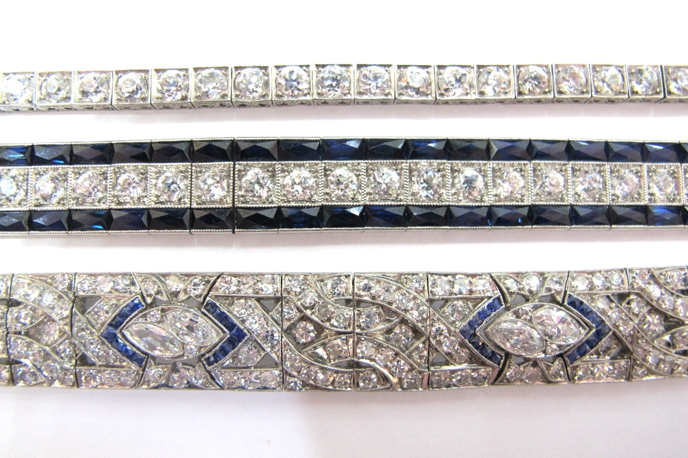From the Gray & Davis archive: Art Deco diamond line bracelet, Art Deco diamond and sapphire bracelets.