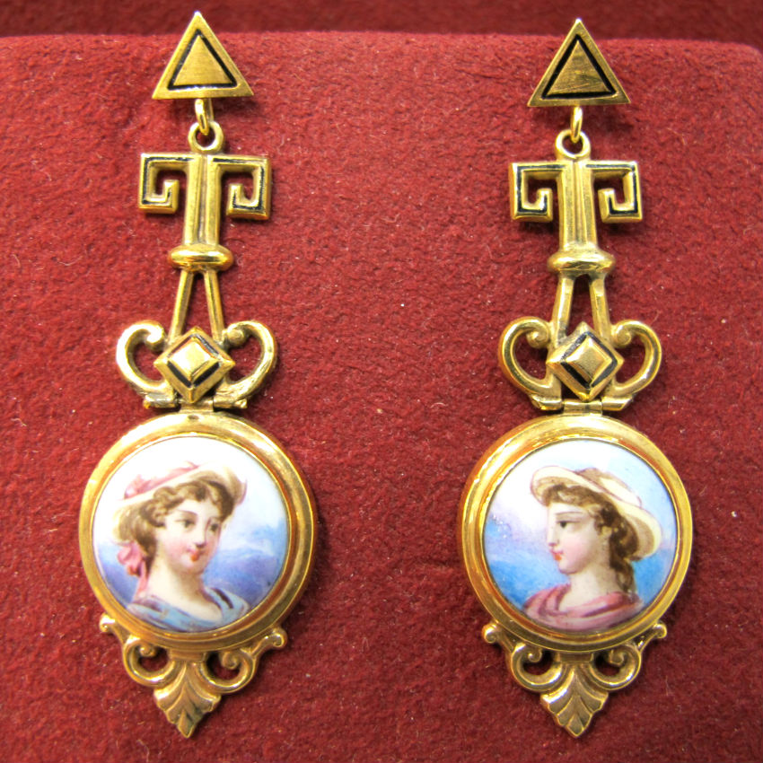 Victorian 18k gold and Swiss enamel dangling portrait earrings, at Gray & Davis.
