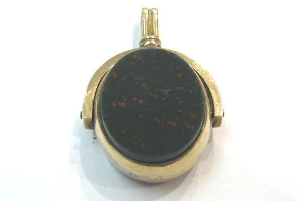 Victorian 10k gold, bloodstone and carnelian fob, at G & D