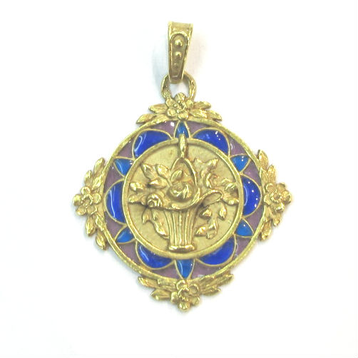 Victorian French 18k gold pendant with plique-a-jour enamel, with a bouquet of roses and a forget-me-not border. At G&D.