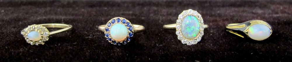 Antique and vintage opal and gold rings at Gray & Davis.