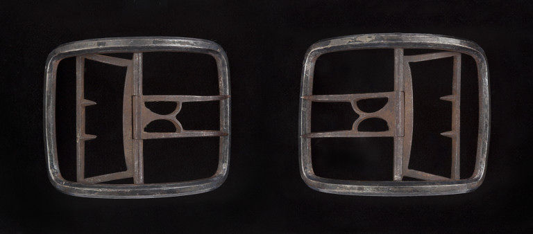 Steel shoe buckles, English c.1600-1649. Collections of the Victoria & Albert Museum.