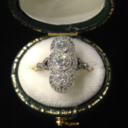 Edwardian Triple Diamond Ring in Platinum and 18K Gold, available in our online shop.