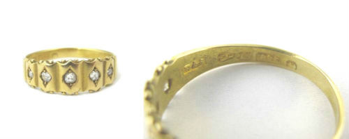 Victorian 15K Gold and Five Diamond Ring. available in our online shop.