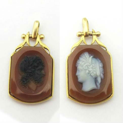 Victorian Sardonyx and 14k Gold Cameo Fob, in our online shop.