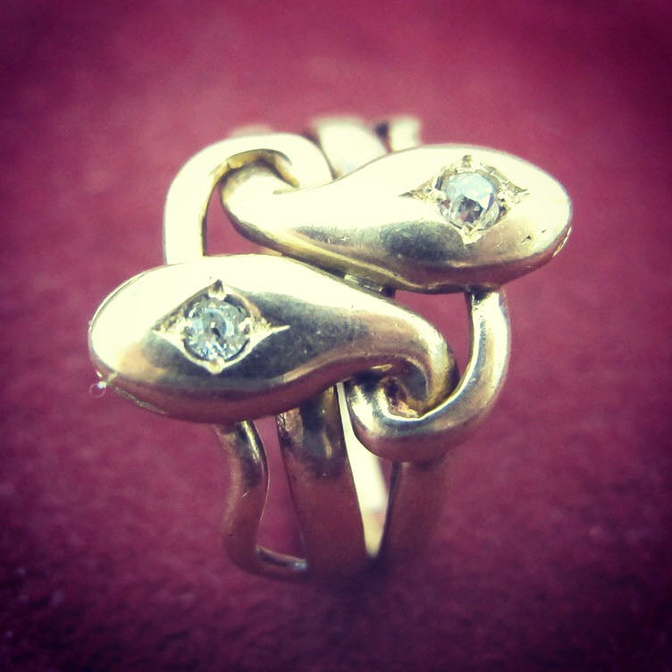 Victorian 10K gold nested snake ring, in our online shop.