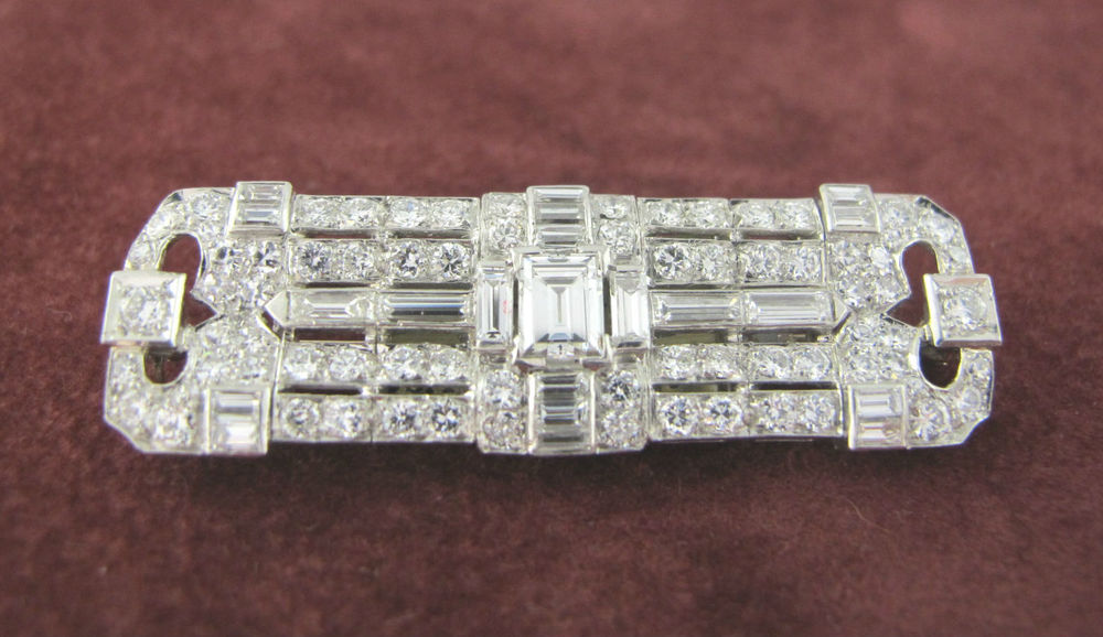 Art Deco diamond and 18k white gold brooch, available at Gray & Davis.