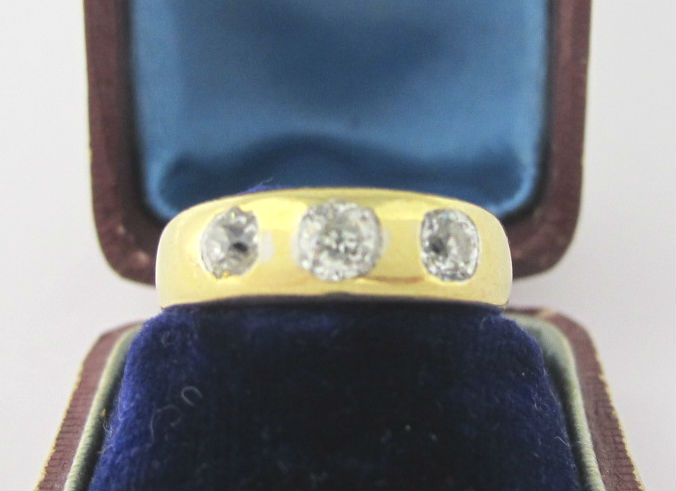Victorian three diamond gypsy ring, in our  online shop .