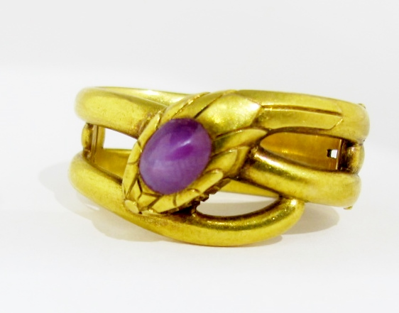 18k yellow gold and star sapphire scarf ring.  French marks, c.1900. For sale at Gray & Davis.