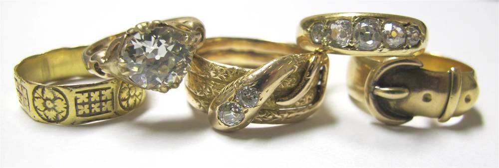 Five Victorian golden rings, available at Gray & Davis and from the G&D Archive.