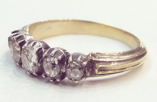 A Georgian five diamond ring in silver and 18k yellow gold, at Gray & Davis.