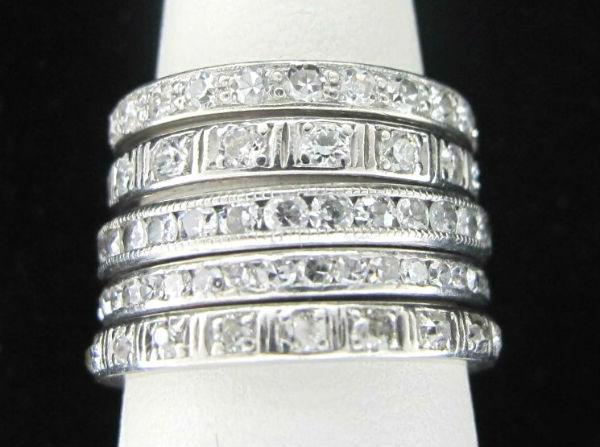 A fabulous stack of Art Deco eternity bands, available at Gray & Davis, and in our  online shop .