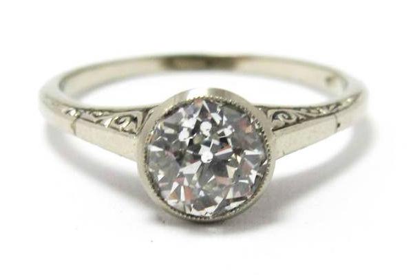 Art Deco 1.04ct old European cut diamond ring in 18k white gold, at Gray & Davis.