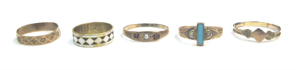Victorian 10k gold and 14k gold child's rings with enamel, pearl and garnet, at Gray & Davis.
