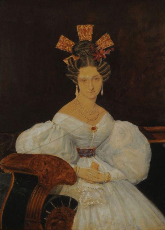 Senora Manuela Suarez Lastra de Garmendia  (1800 - 1875)  by Pellegrini. Quite a name and quite a hairdo!