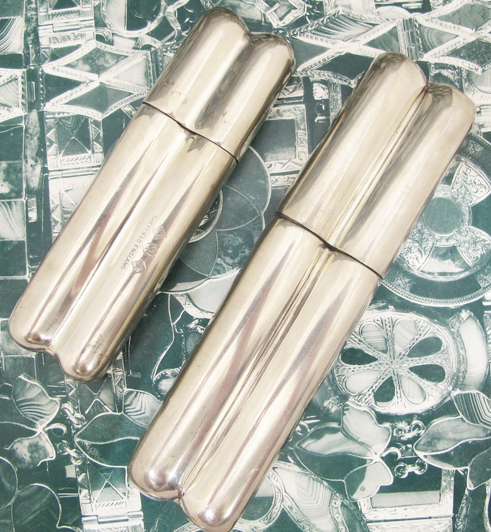 Vintage Sheffield Pewter Cigar Holders. Available at Gray & Davis.