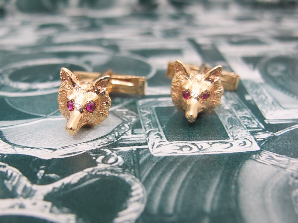 Vintage fox's head cuff links 14k yellow gold and ruby. Available in the Gray & Davis online shop.