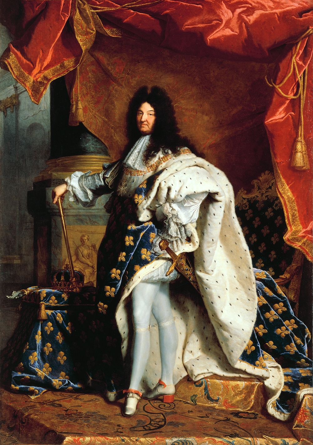 Louis XIV in his signature huge wig and tiny pants.