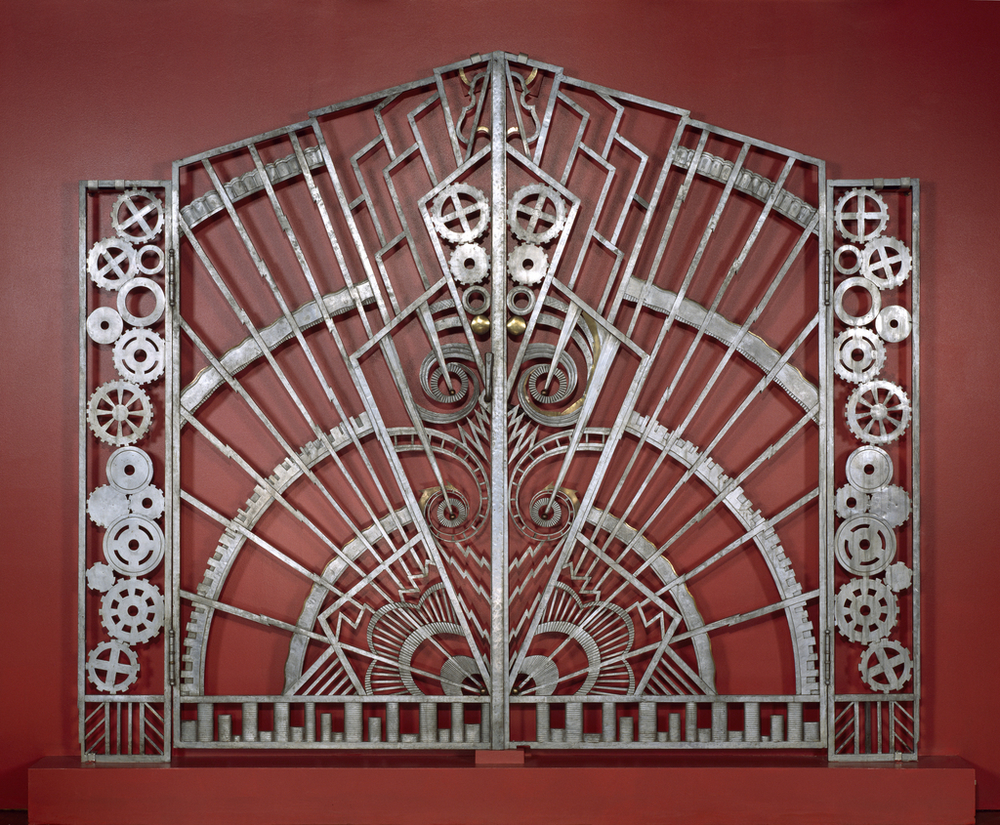 Gates that once lead to the executive suite in the Chanin building. Now in the collection of the Cooper Hewitt Museum.