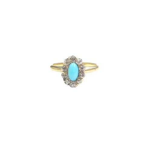 Vintage cluster ring in Persian turquoise, diamond and 14k yellow gold. Currently available in the G&D online shop!