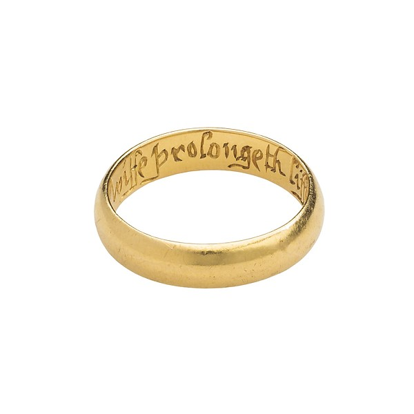 "17th Century English Posey Ring. Inscribed ""A Verteuous Wiffe Prolongeth Liffe."""