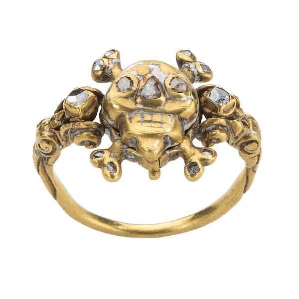17th century 'memento mori'locket ring in gold, enamel and diamonds.