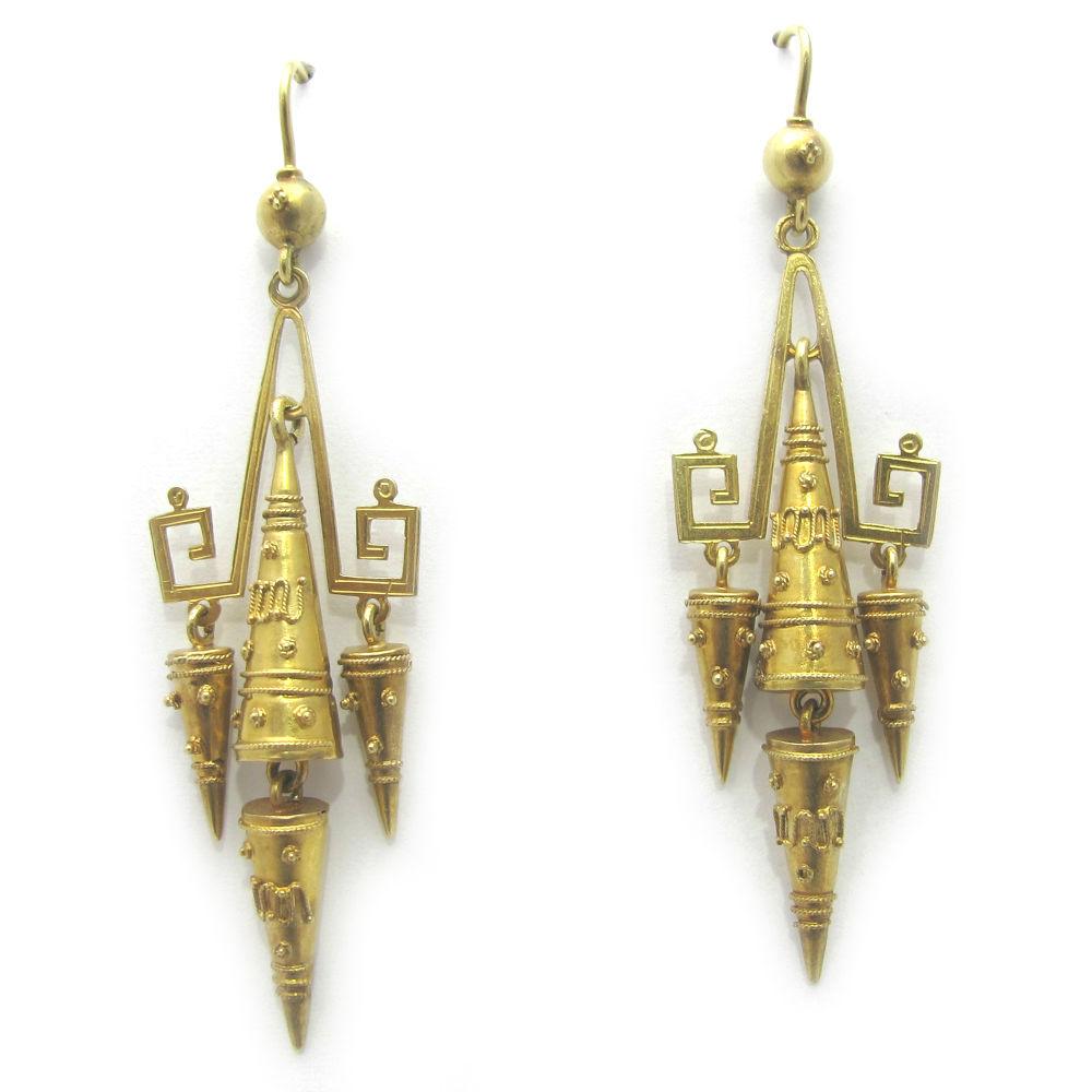 0cea9663cec89d Exquisite Etruscan Revival 18k Gold dangle Earrings — Gray & Davis: Antique  & Custom Jewelry