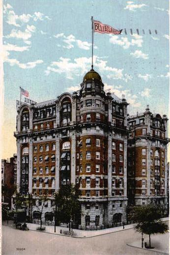 A vintage postcard of the Hotel Belleclaire, still operating today in New York's Upper West Side.