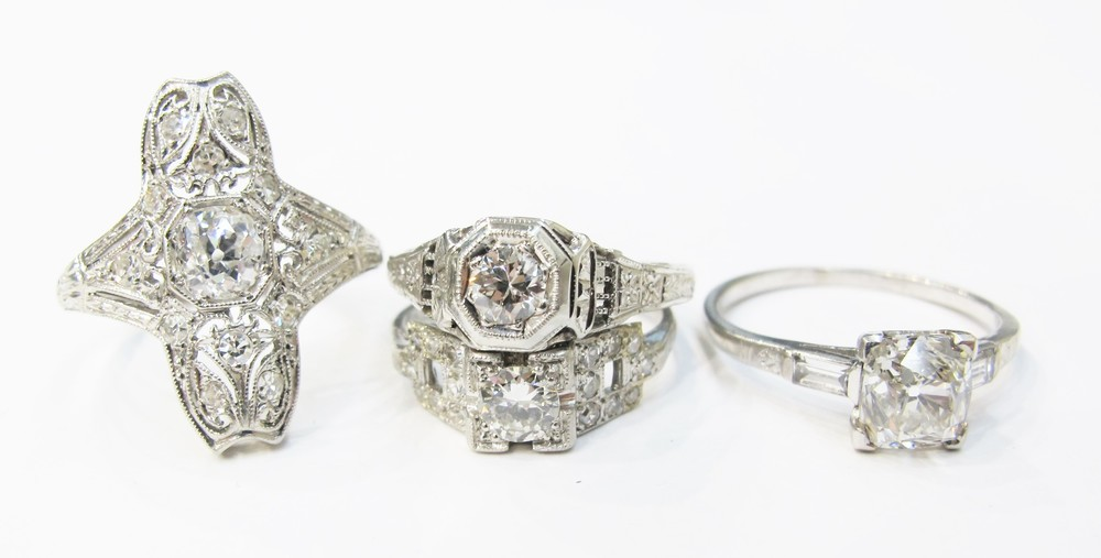 A selection of vintage diamond rings, currently available at Gray & Davis.