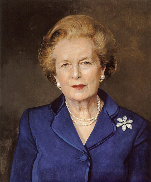 Margaret Thatcher, Prime Minister of Britain from 1979 - 1990, painted by Richard Stone.
