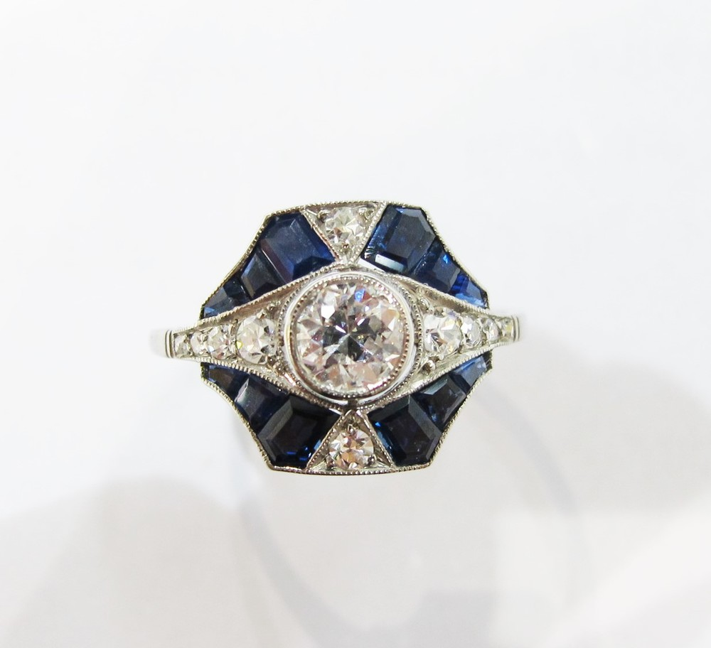 Say Yes To Wednesday Sapphire Amp Diamond Art Deco Ring
