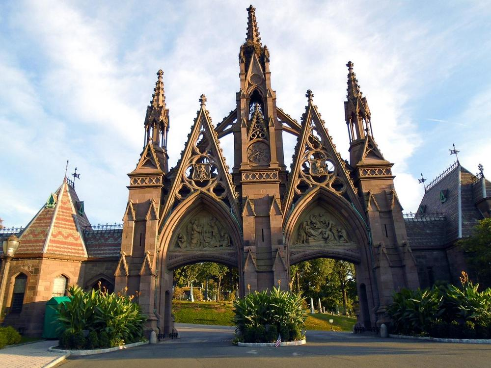 "The ""Gothic Gates"" of Green-Wood were designed by Richard Upjohn and built in the early 1860s."