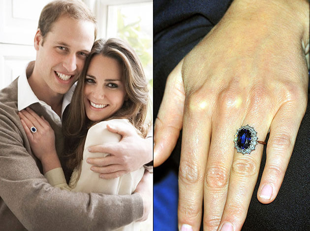 A happy couple and their sapphire.