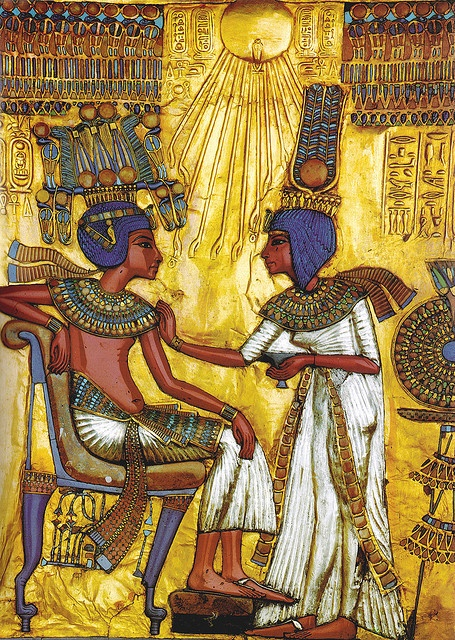 Actual image painted on guilded chair in King Tut's tomb
