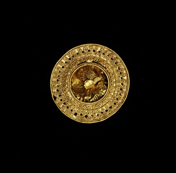 Etruscan gold rosette made in Tuscany c. 500-400 BC.