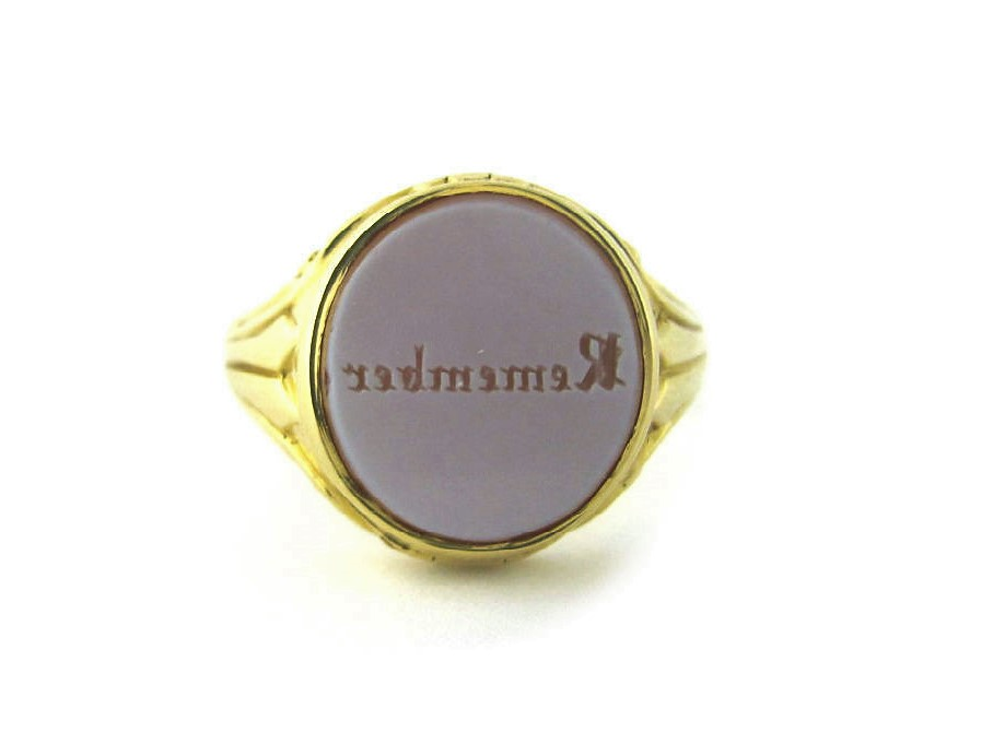 Victorian 15K gold and banded agate men's intaglio ring with locket compartment.