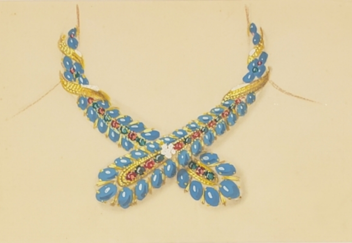 Turquoise, colored stone, and diamond necklace, c. 1945