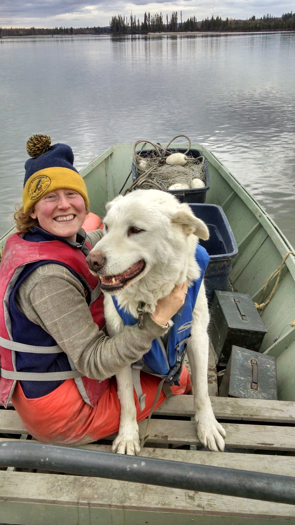 jenna and polar in boat