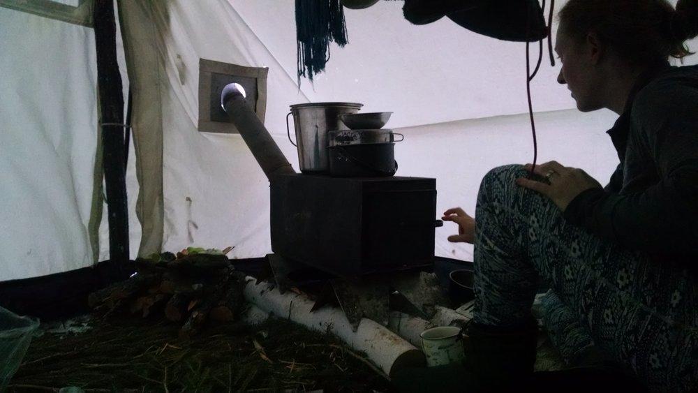 woodstove setup
